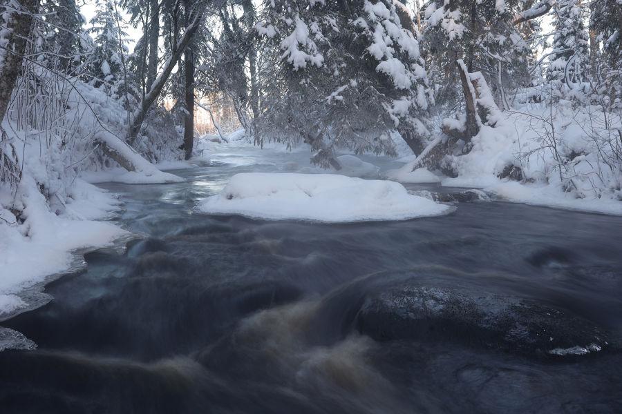 Pitkä valoitus lumisen metsän peitossa olevasta joesta
