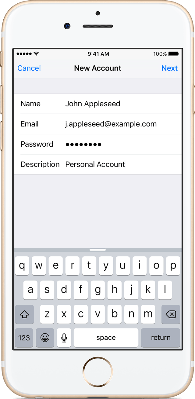 how to add a new email account on iphone 6s