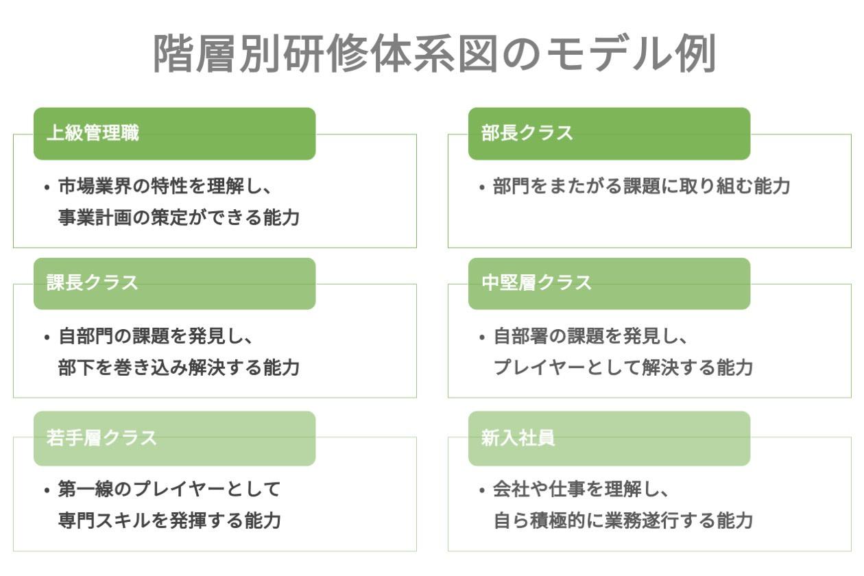 階層別研修体系図のモデル例