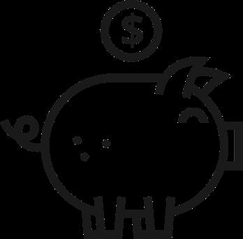 Symbol Sparschwein mit Geldmünze oben darüber