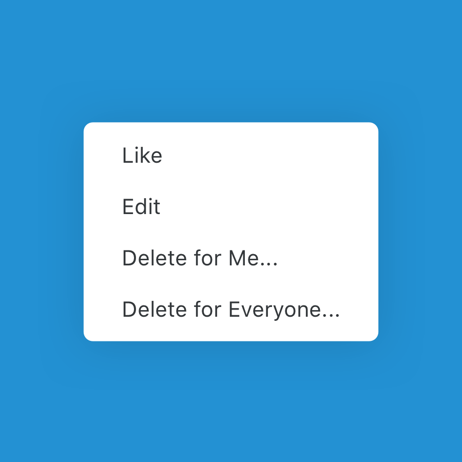 delete for everyone and edit message menu