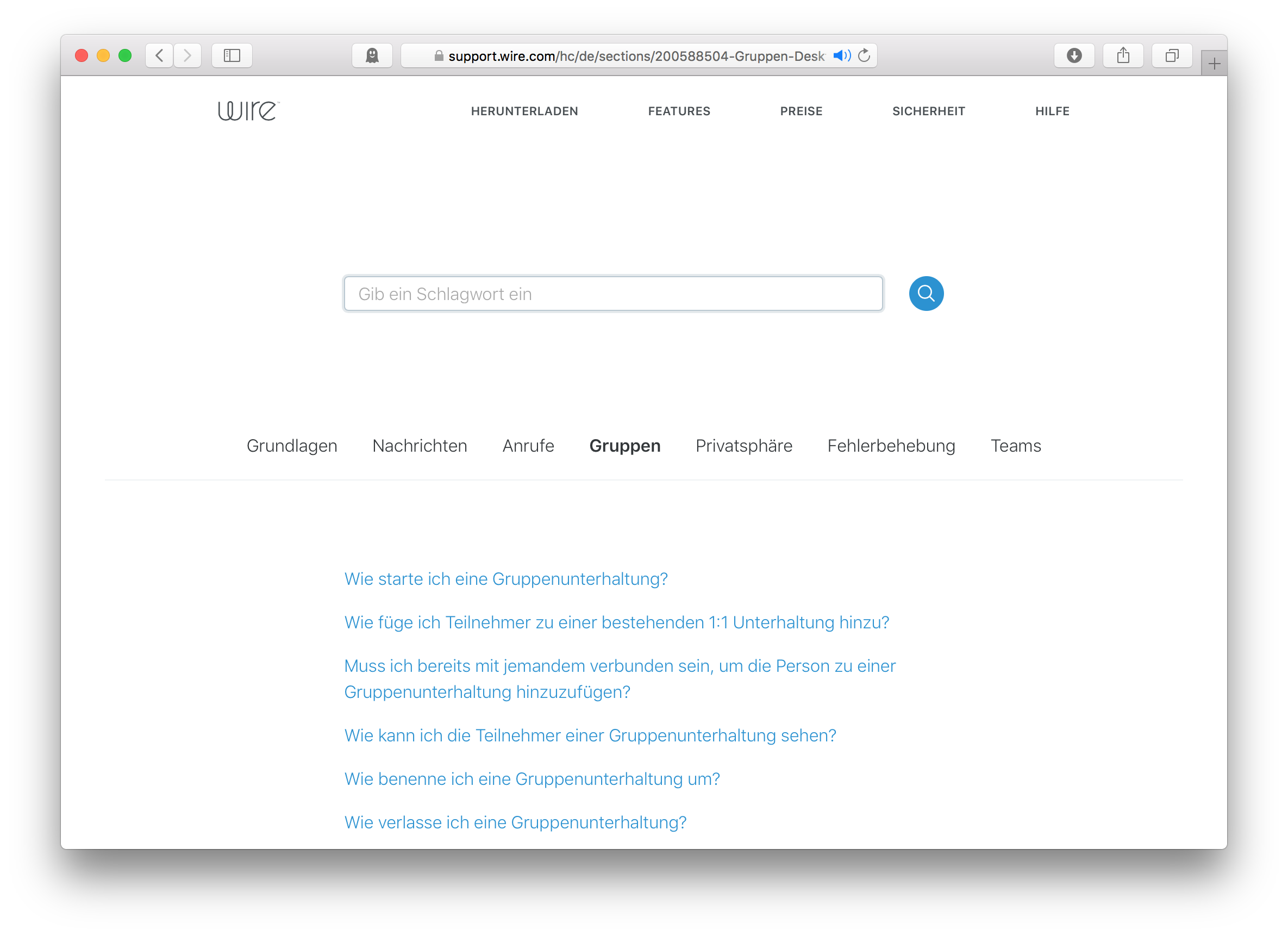 wire support site in german language