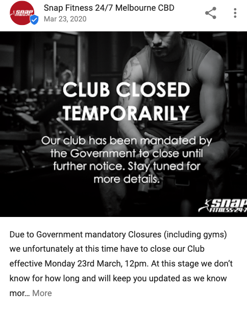 GMB Temporarily Closed Post