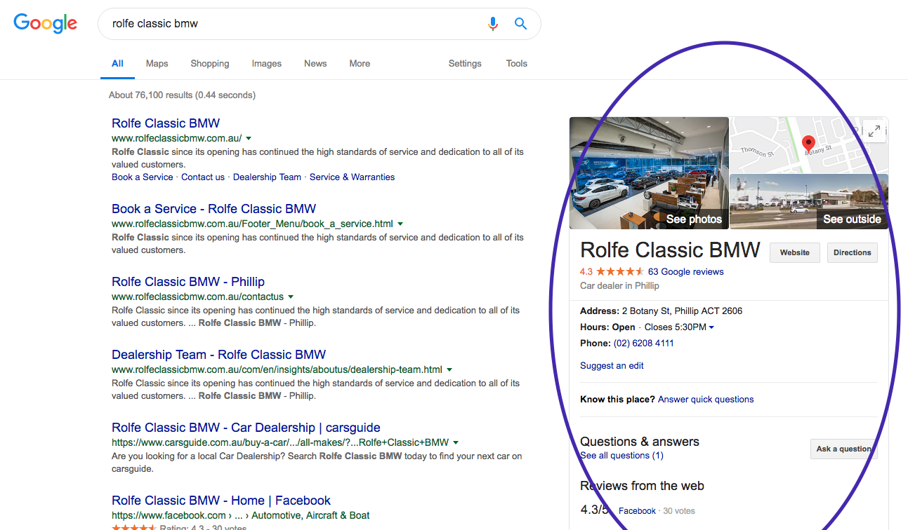 Google My Business Rolfe Classic