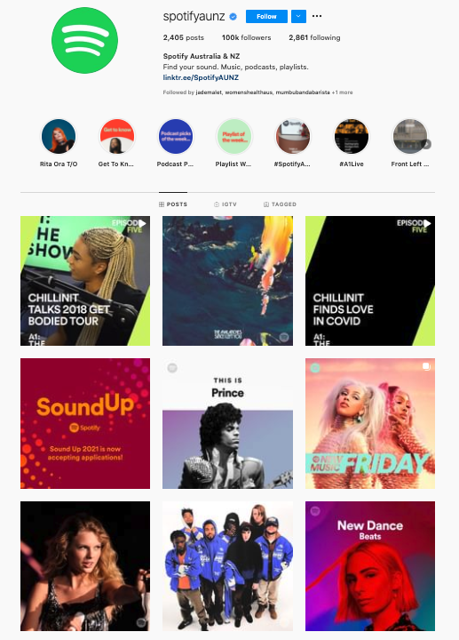 Spotify Instagram Account