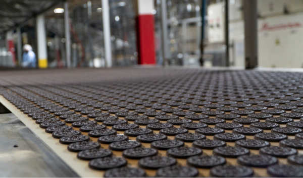 A conveyor belt with chocolate cookies in a grid