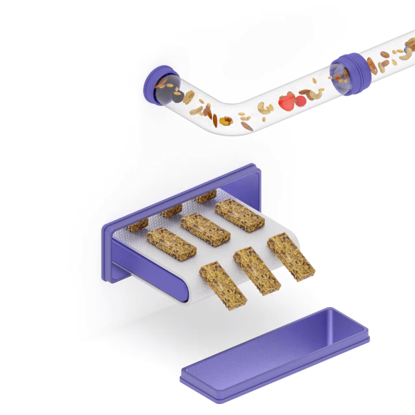 Abstract 3D render of food processing with a conveyor belt dispensing granola bars.