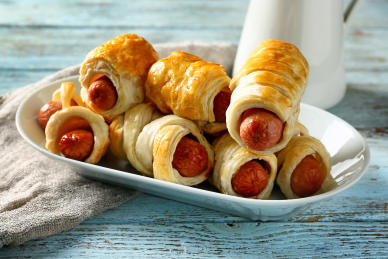 Puffy wrapped wiener appetizers.
