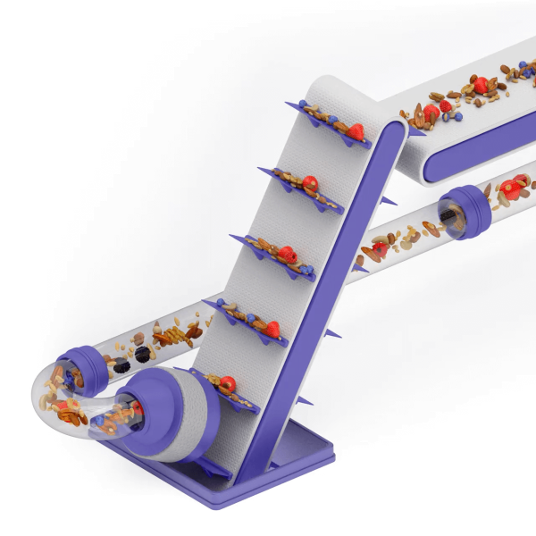 Abstract 3D render of food processing with an angled conveyor belt.