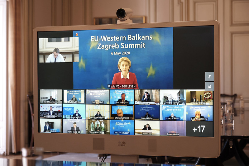 The coronavirus forced the the May 6th EU Western Balkans Summit to be conducted via video conference. (Photo Credit: New Democracy)