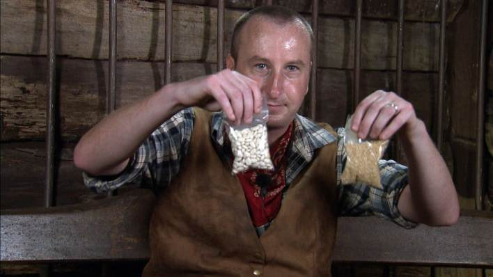 I'm A Celebrity Andy Whyment with rice and beans