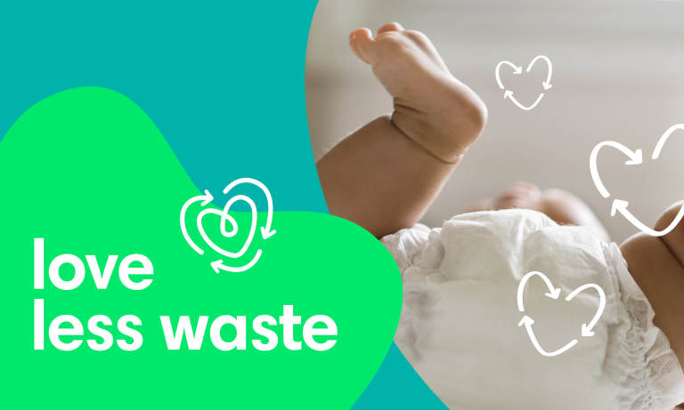 Diaper on baby with recycling heart doodles
