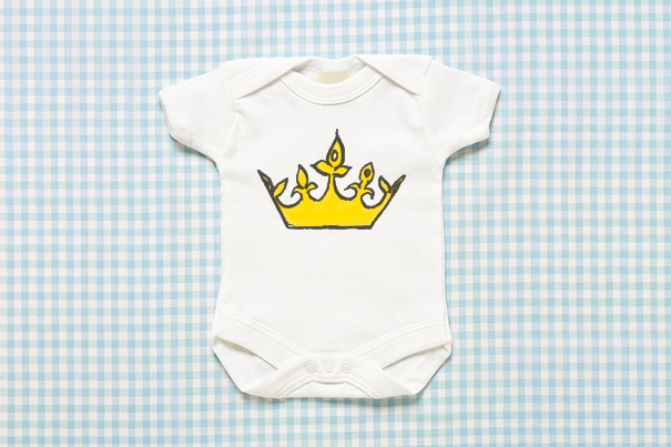 Royal themed baby grow