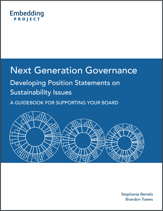 Next Generation Governance: Developing Position Statements on Sustainability Issues cover