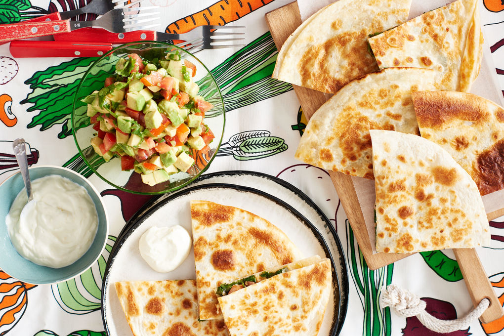Cheesy Spinach Quesadillas with Avocado Salsa