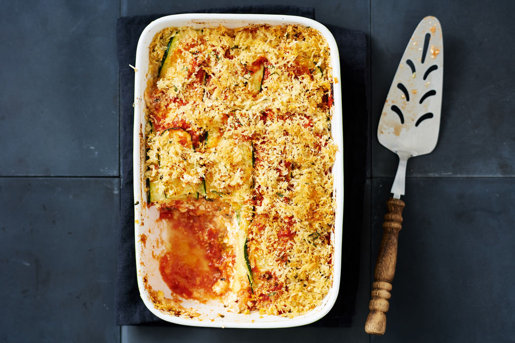 Zucchini and Ricotta Parmigiana with Crunchy Parmesan Crust