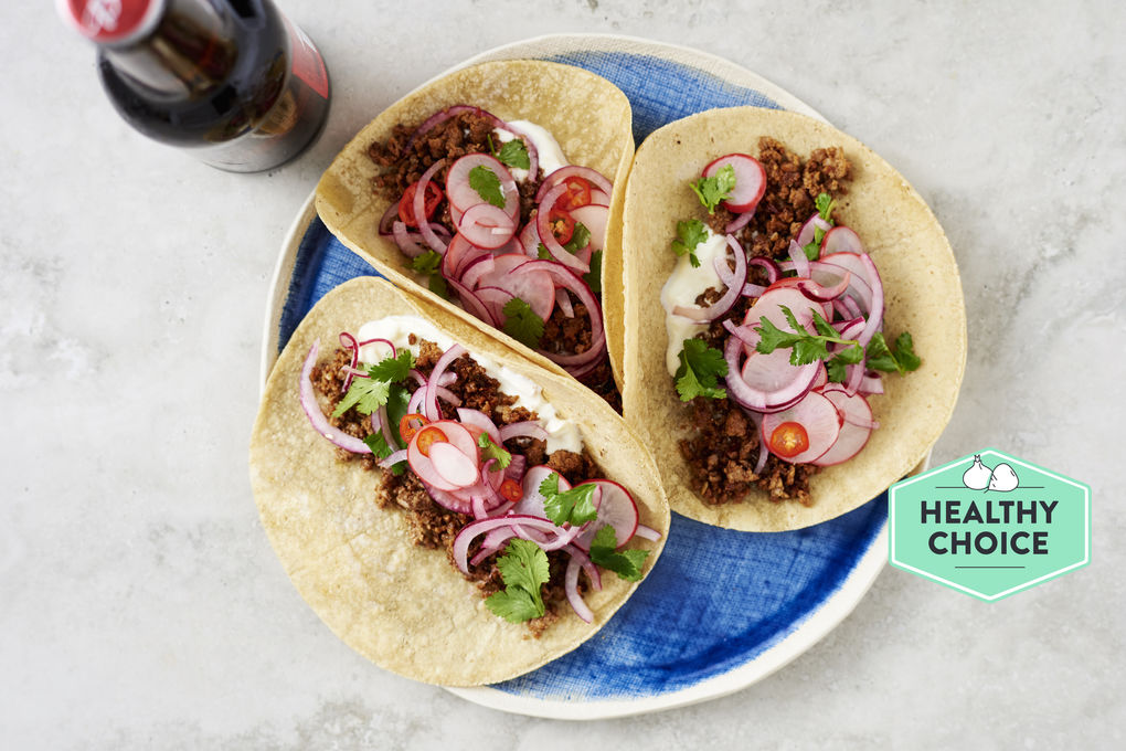 Spicy Beef Soft Corn Tacos with Pickled Vegetables