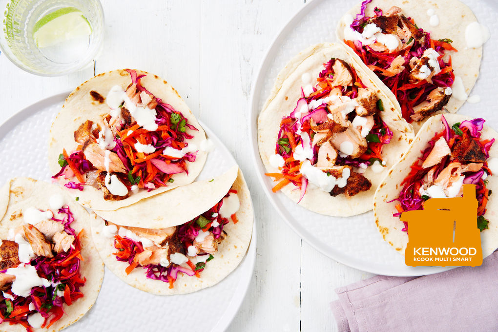 Salmon Tacos with Red Cabbage Slaw and Lime Yoghurt