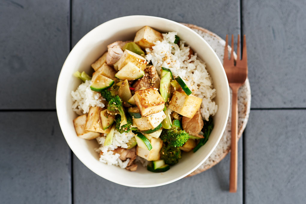 Tamarind Pork and Tofu Stir-fry with Sesame Rice