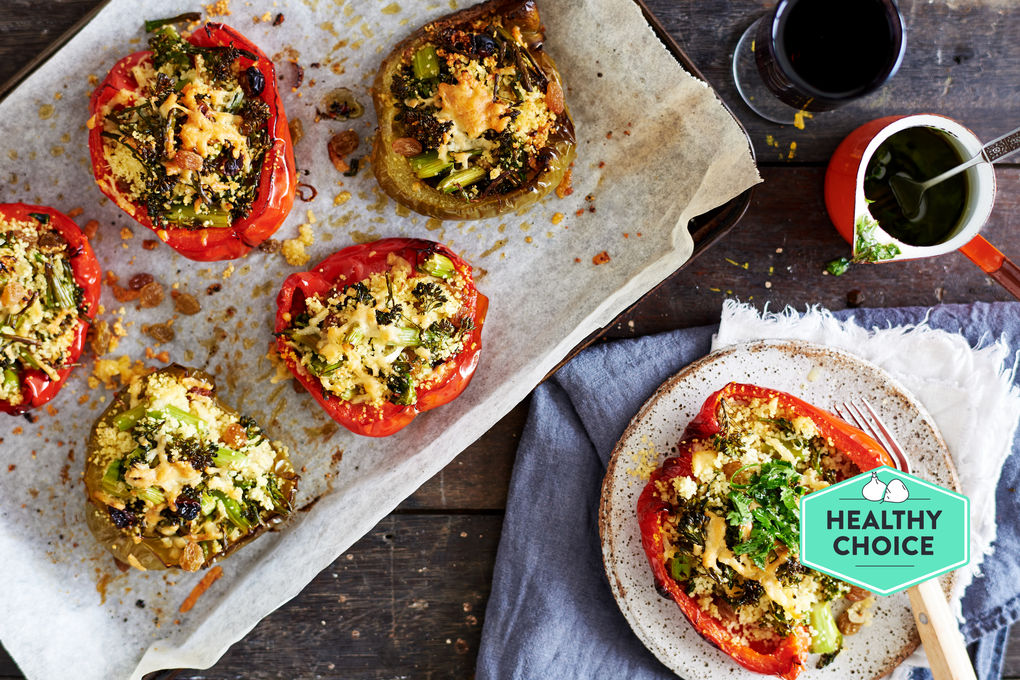 Stuffed Capsicum with Couscous and Herb Oil