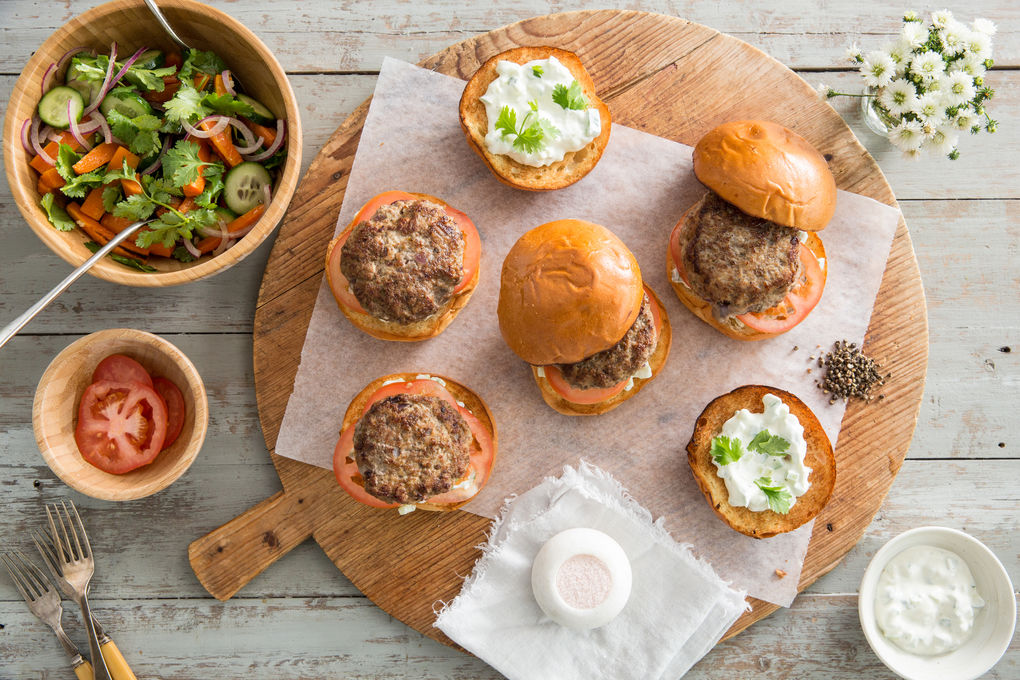Spiced Pork Burgers with Roasted Carrot Salad