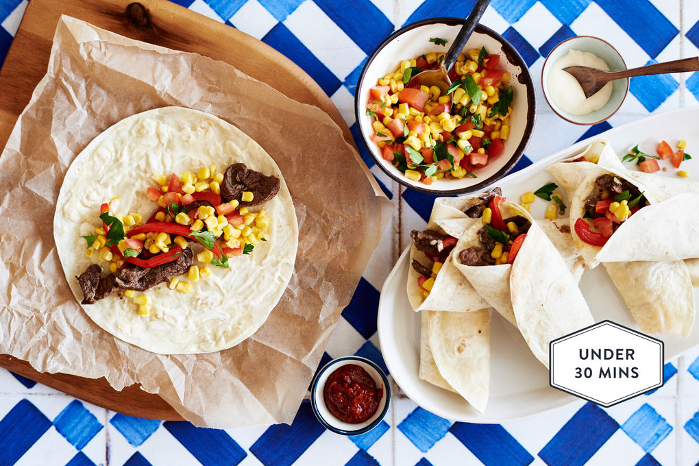 Beef Fajitas with Red Capsicum and Sweetcorn and Tomato Salsa.