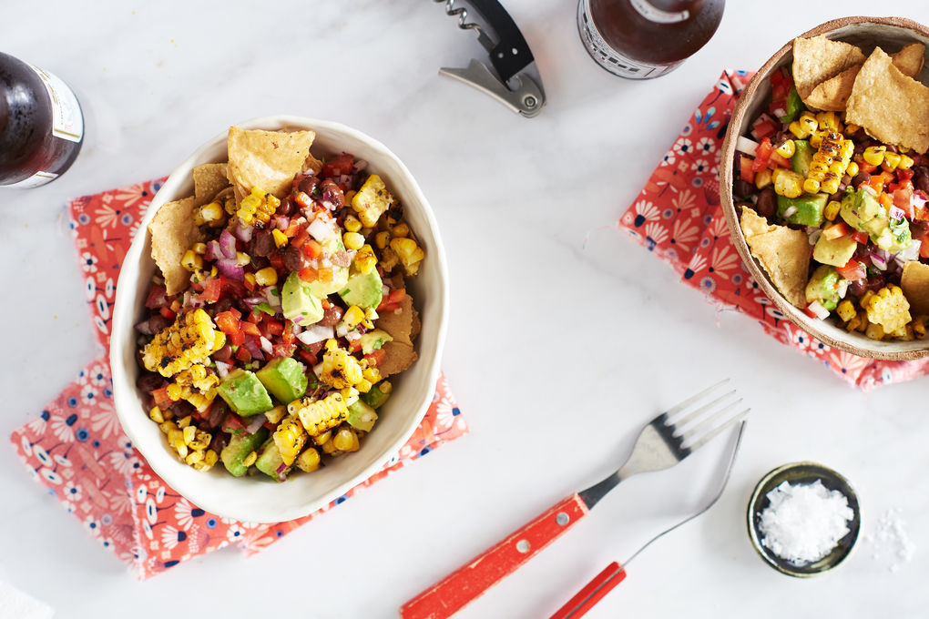 Charred Corn and Black Bean Salad with Tortilla Chips