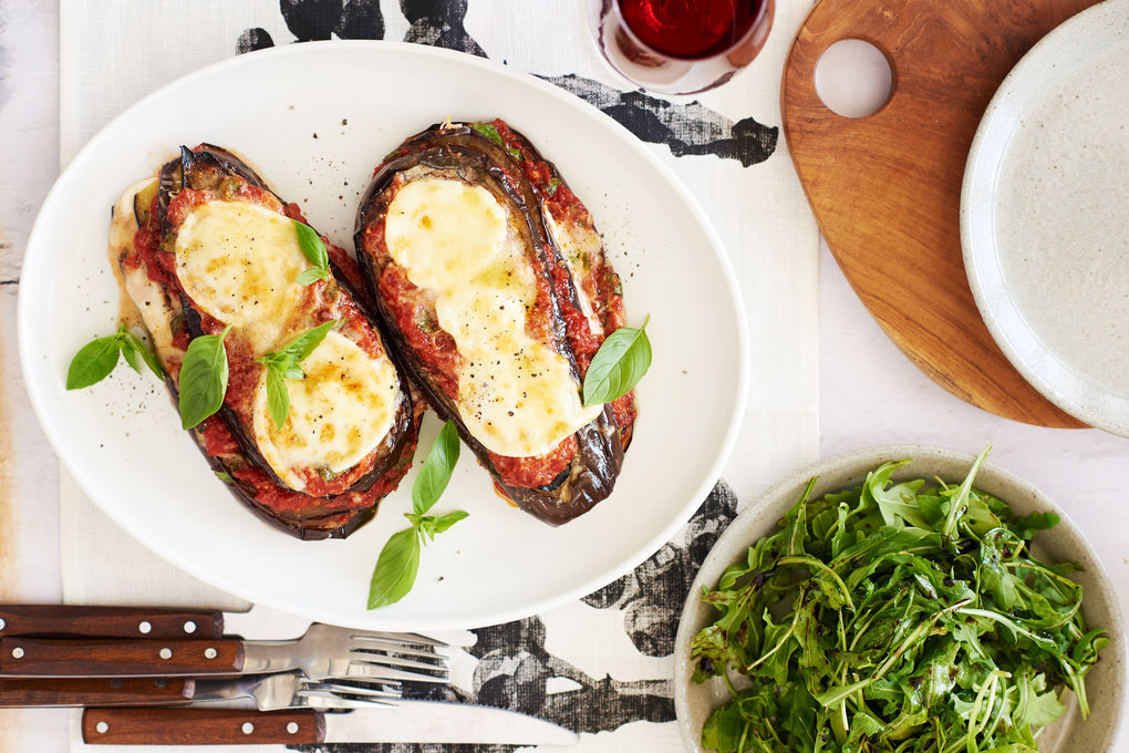 Open Eggplant Parmigiana with Rocket