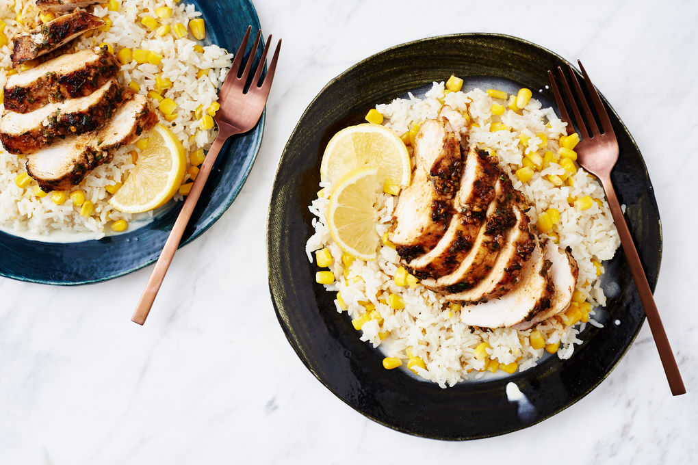 Creamy Coconut and Corn Rice with Jerk Chicken