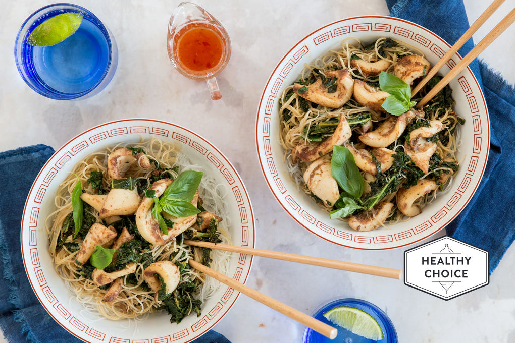 Chilli Squid and Noodle Stir-fry with Kale