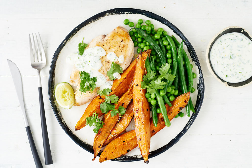 Hot 'n' Spicy Sweet Potato and Chicken with Lime and Coriander Yoghurt