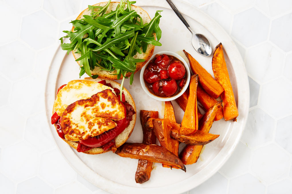 Haloumi and Charred Capsicum Burgers with Sweet Potato Wedges