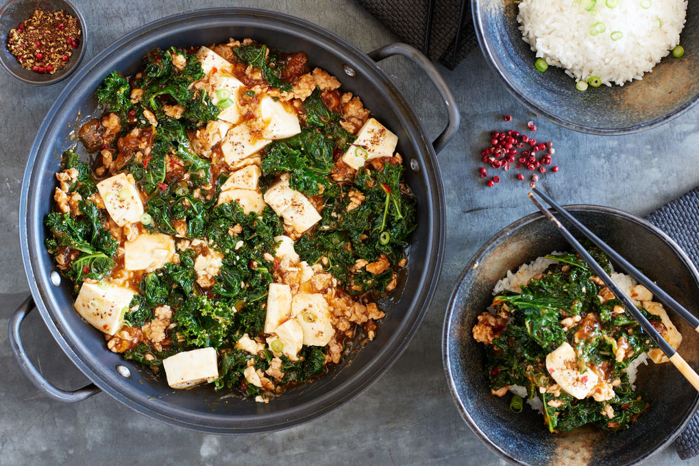 Pork Mapo Tofu with Kale and Jasmine Rice.