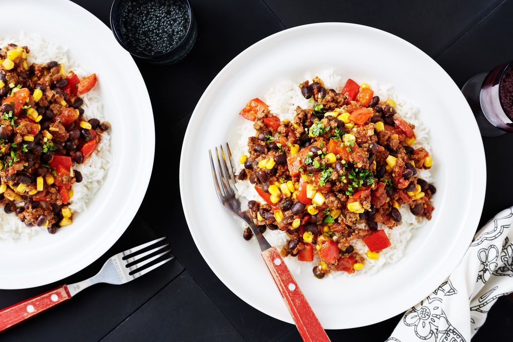 Mexican Beef with Black Beans, Corn and Capsicum