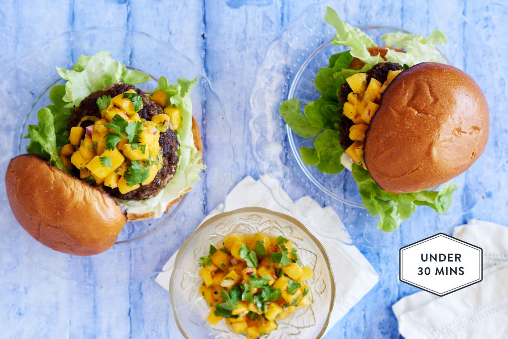 Caribbean Beef Burgers with Mango