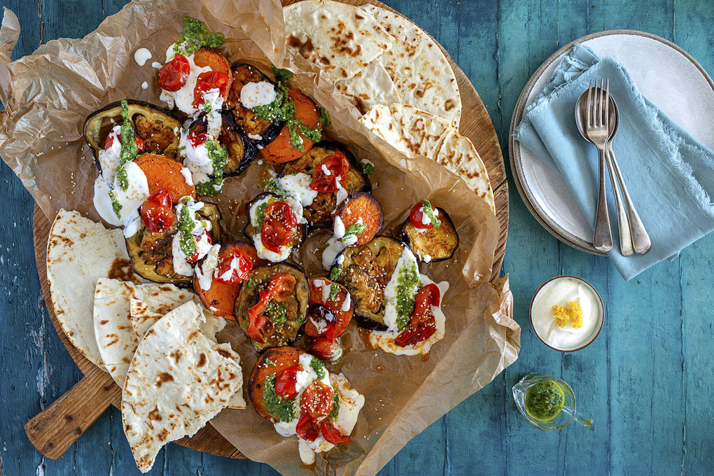 Roasted Eggplant, Sweet Potato and Tomato with Sesame Yoghurt