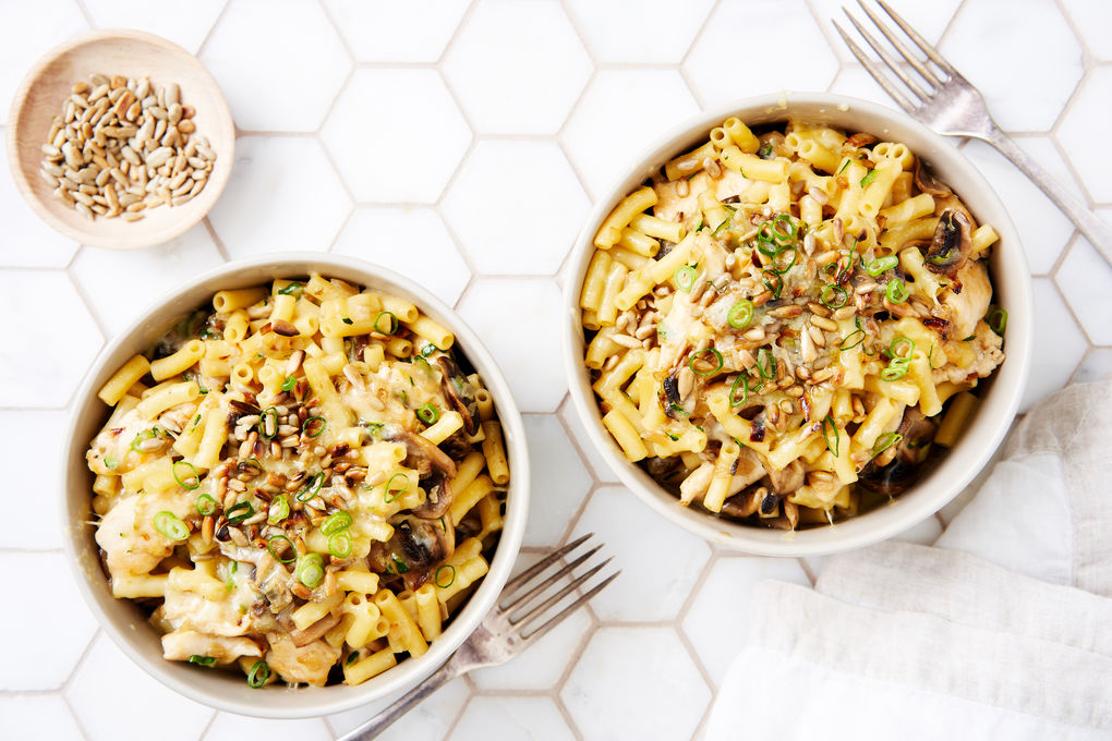 Chicken and Mushroom Mac 'n' Cheese with Toasted Sunflower Seeds