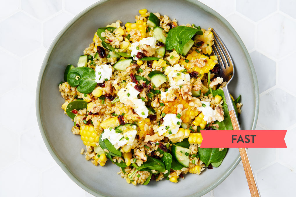 Easy Freekeh, Corn and Cranberry Salad with Spinach and Goat's Curd