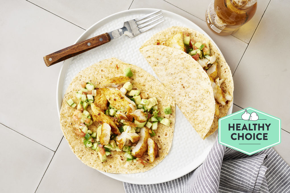 Californian-Style Fish Tacos with Avocado and Coriander Salsa