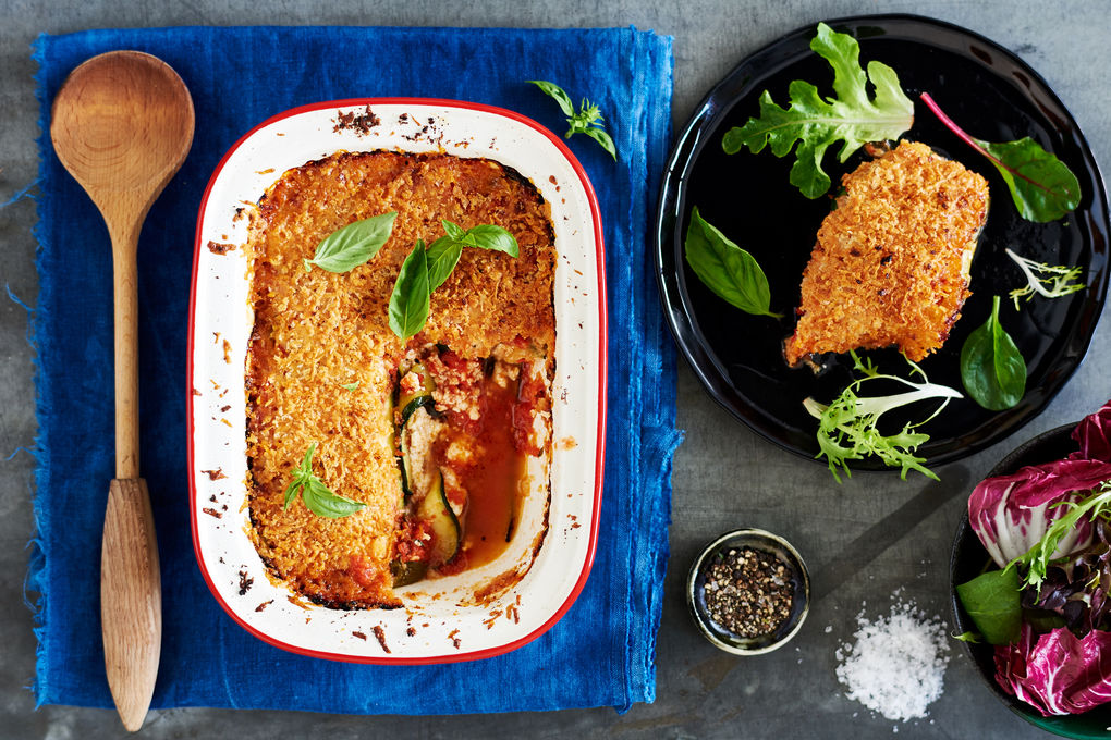 Quick Zucchini Parmigiana with Fresh Tomato Sauce