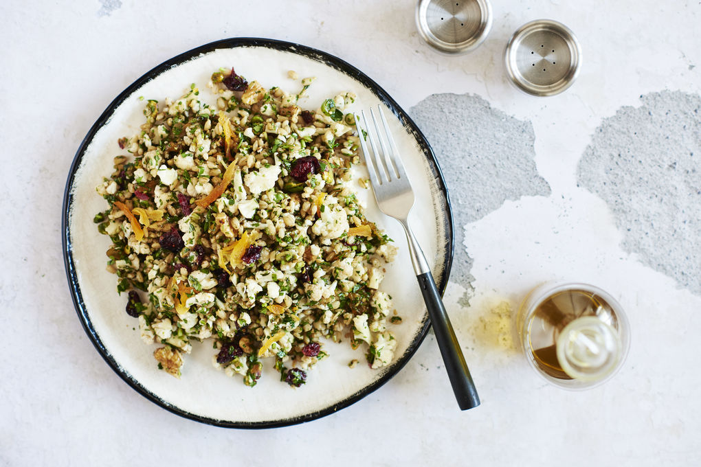Mediterranean Cauliflower Salad with Barley and Nuts