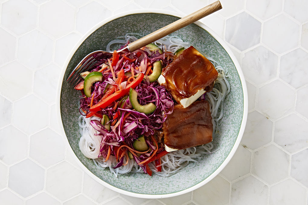 Glass Noodle Bowls with Hoisin Tofu and Pickled Vegetables
