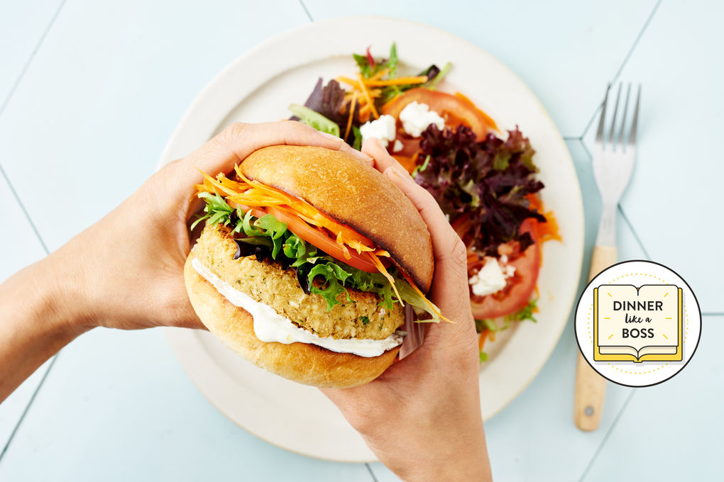 Chickpea and Feta Burgers with Lemon Yoghurt Sauce
