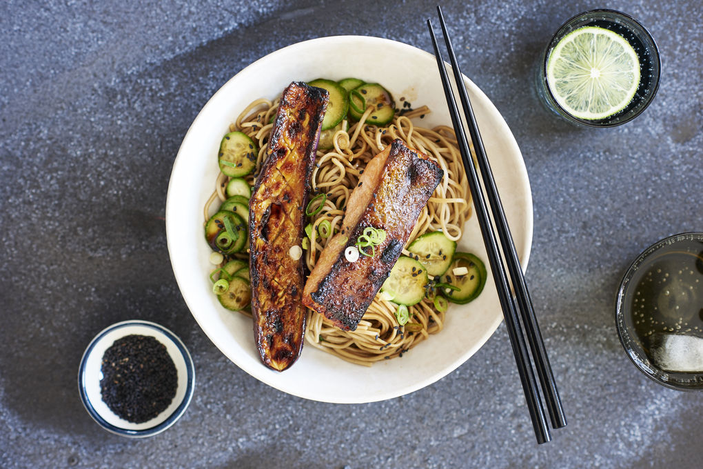 Miso Grilled Salmon with Soba Noodles and Ponzu