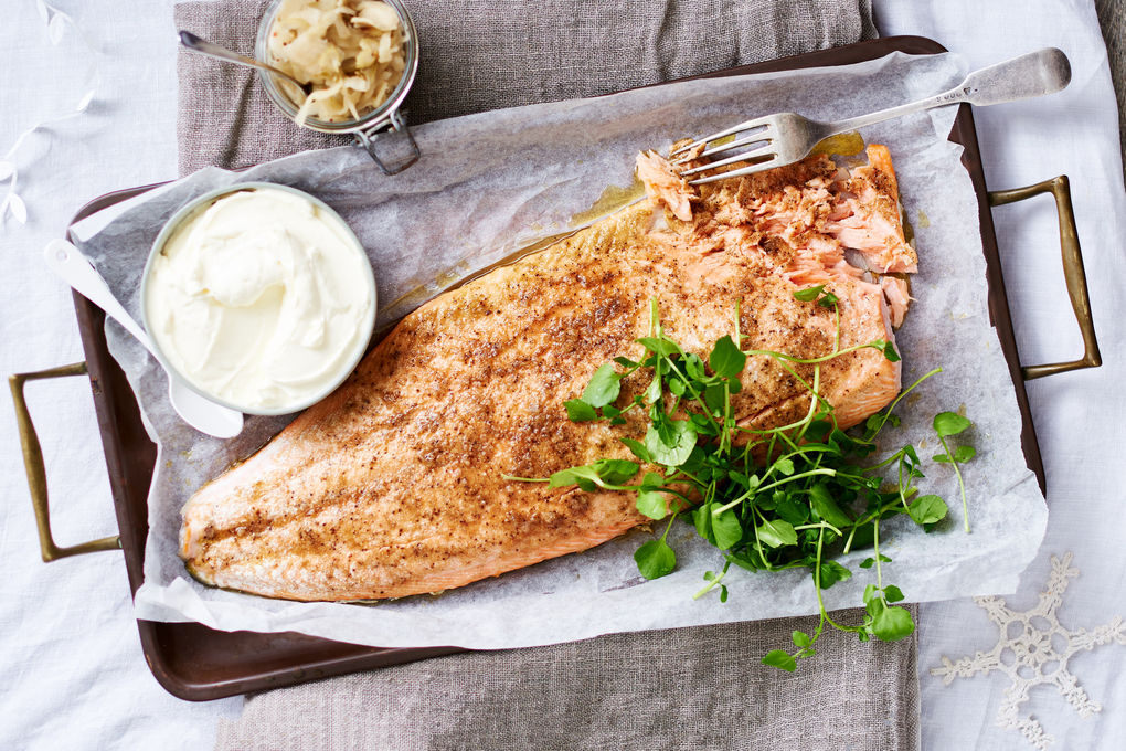 Baked Tasmanian Salmon with Horseradish and Pickled Fennel