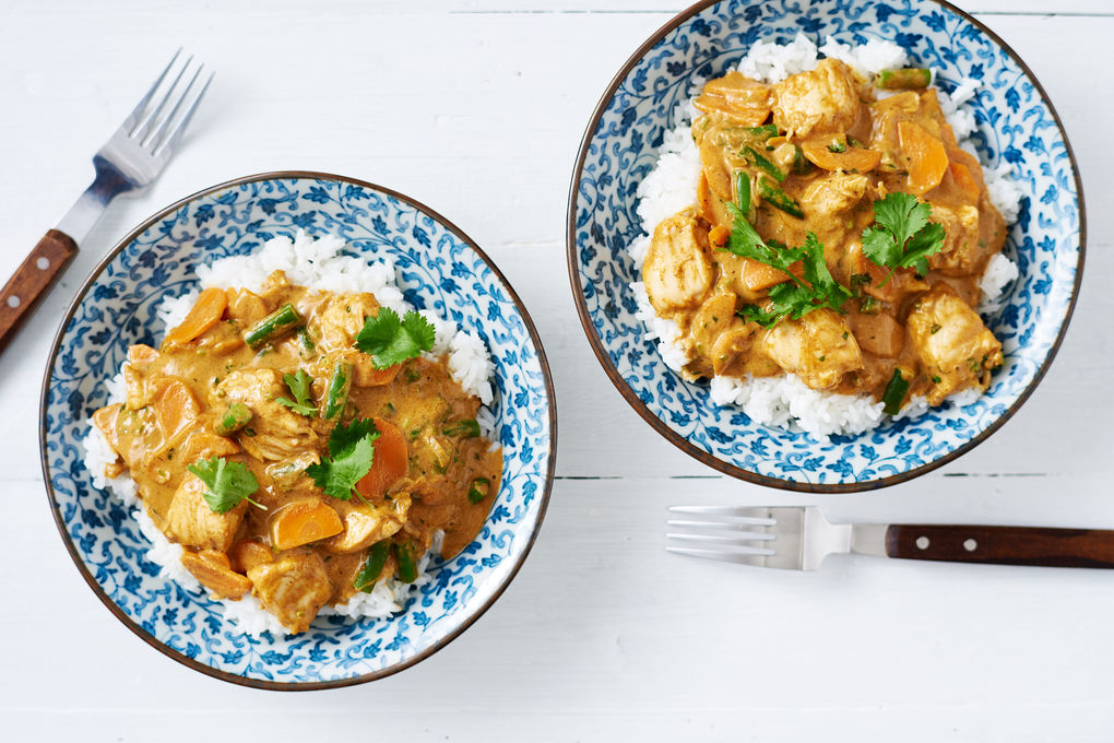Chicken Satay Curry with Green Beans and Carrots