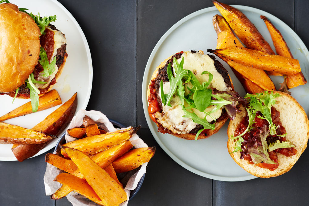 Porcini-Crusted Cheeseburgers with Tomato Relish and Sweet Potato Wedges