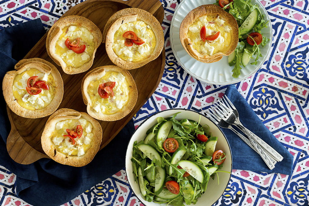 Bacon, Leek and Cheese Tortilla Tarts