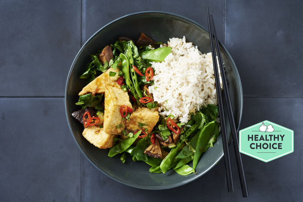 Tofu and Shiitake Stir-fry with Kecap Manis and Coconut Rice