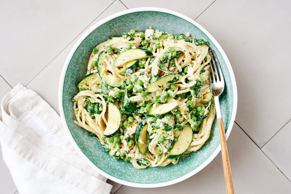 Three Cheese Spaghetti with Mint and Peas